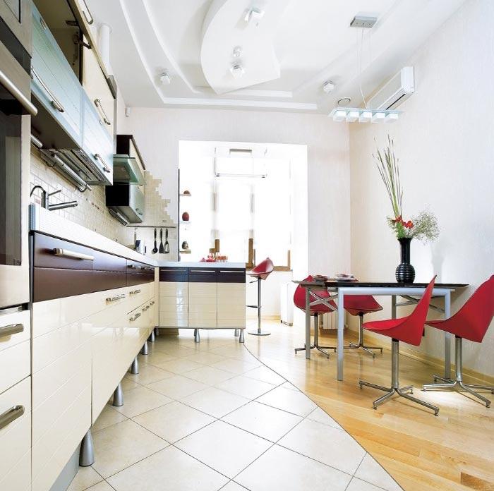 Минималистский стиль интерьера в кухне частного дома