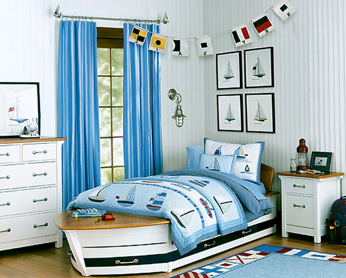 Небесный цвет в дизайне маленькой комнаты
