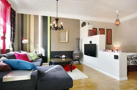 Дизайн квартиры с перегородкой из ящиков