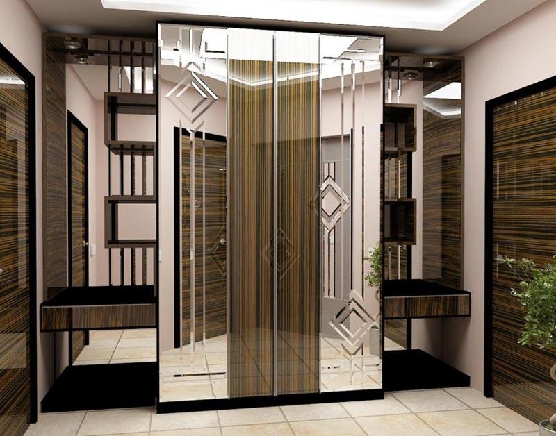 Использование большого количества зеркал в дизайне интерьера прихожей
