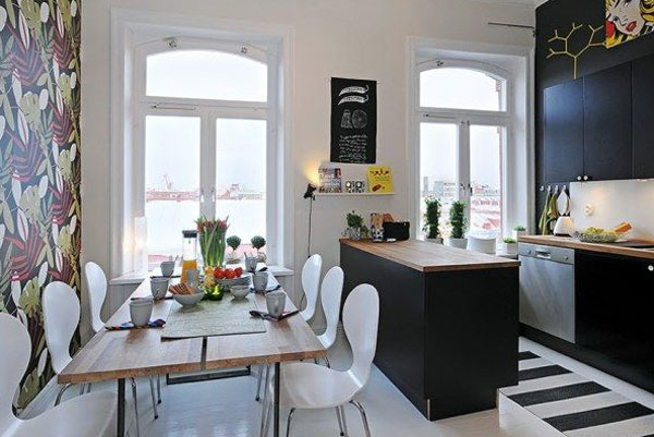 Дизайн интерьера кухни в трёхкомнатной квартире