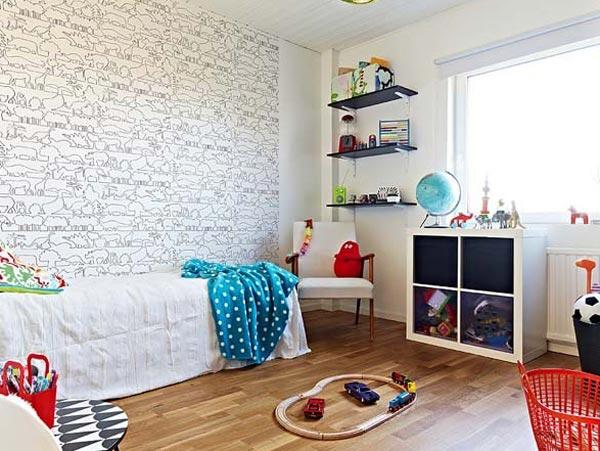 Дизайн детской спальни с применением обоев с животными
