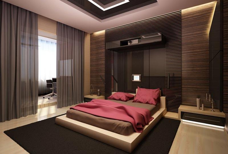 Дизайн для девушки в спальне с разной отделкой стен комнаты