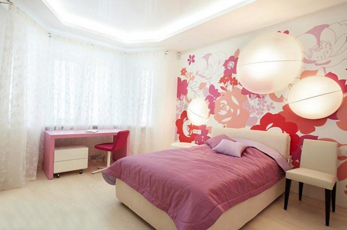Дизайн спальни в нежных цветах для девушки подростка