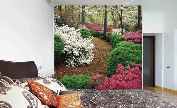 Дизайн интерьера с зеленым уголком в виде фото обоев