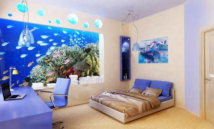 Дизайн спальне в виде аквариума при помощи фото обоев