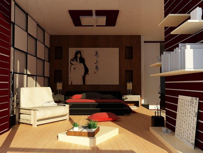 Картина в японском стиле спальной комнаты