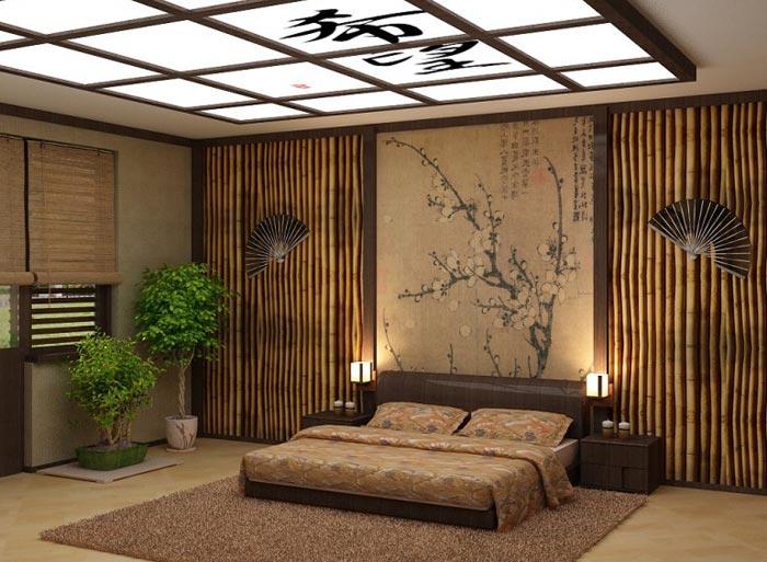 Дизайн спальни выполнен из экологически чистых продуктов в современном японском стиле
