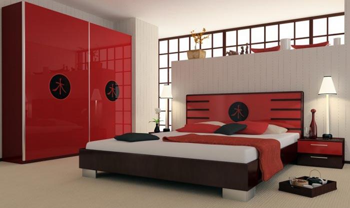 Ярко выраженный японский стиль в интерьере спальни