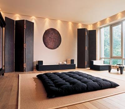 Дизайн интерьера спальни в современном традиционном японском стиле
