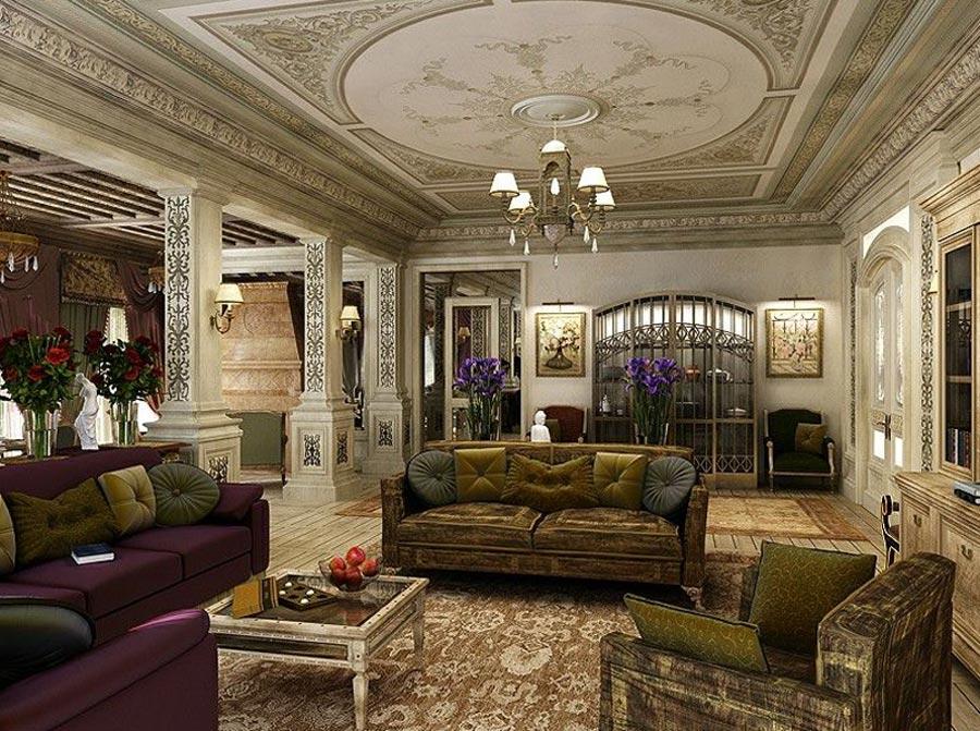 Интерьер гостиной комнаты выполненный в классическом стиле