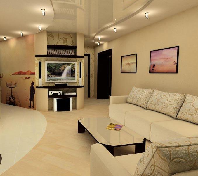 Интерьер гостиной комнаты выполненный в светлых оттенках