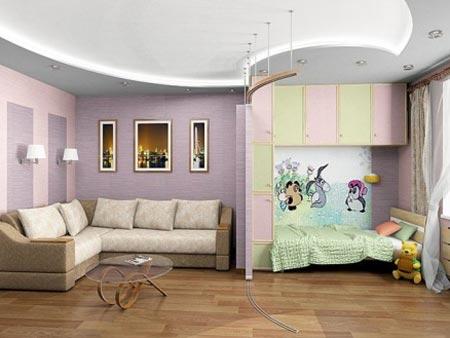 Дизайн детского уголка в однокомнатной квартире