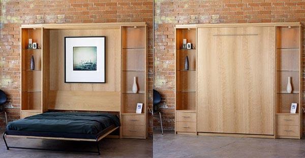 Шкаф трансформер очень выгоден в интерьере однокомнатной квартиры студии