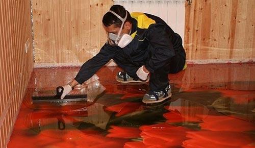 Наливной пол в красных оттенках 3д