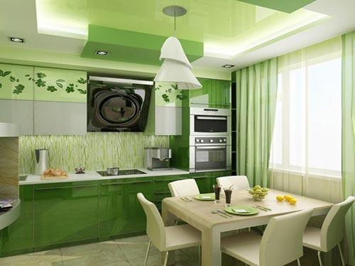 Оформления кухни в зеленых красках
