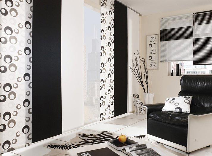 Японские шторы в интерьере небольшой квартиры