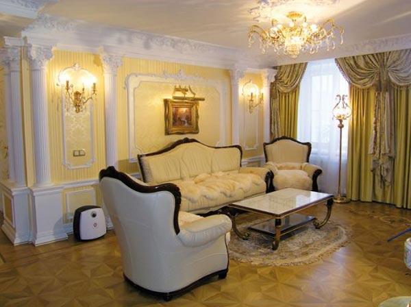 Стиль барокко в интерьере гостиной комнаты
