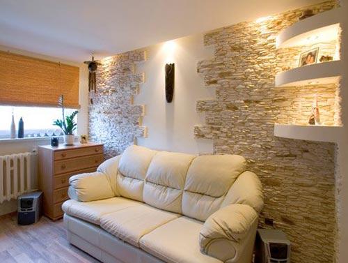 Применения камня в интерьере гостиной