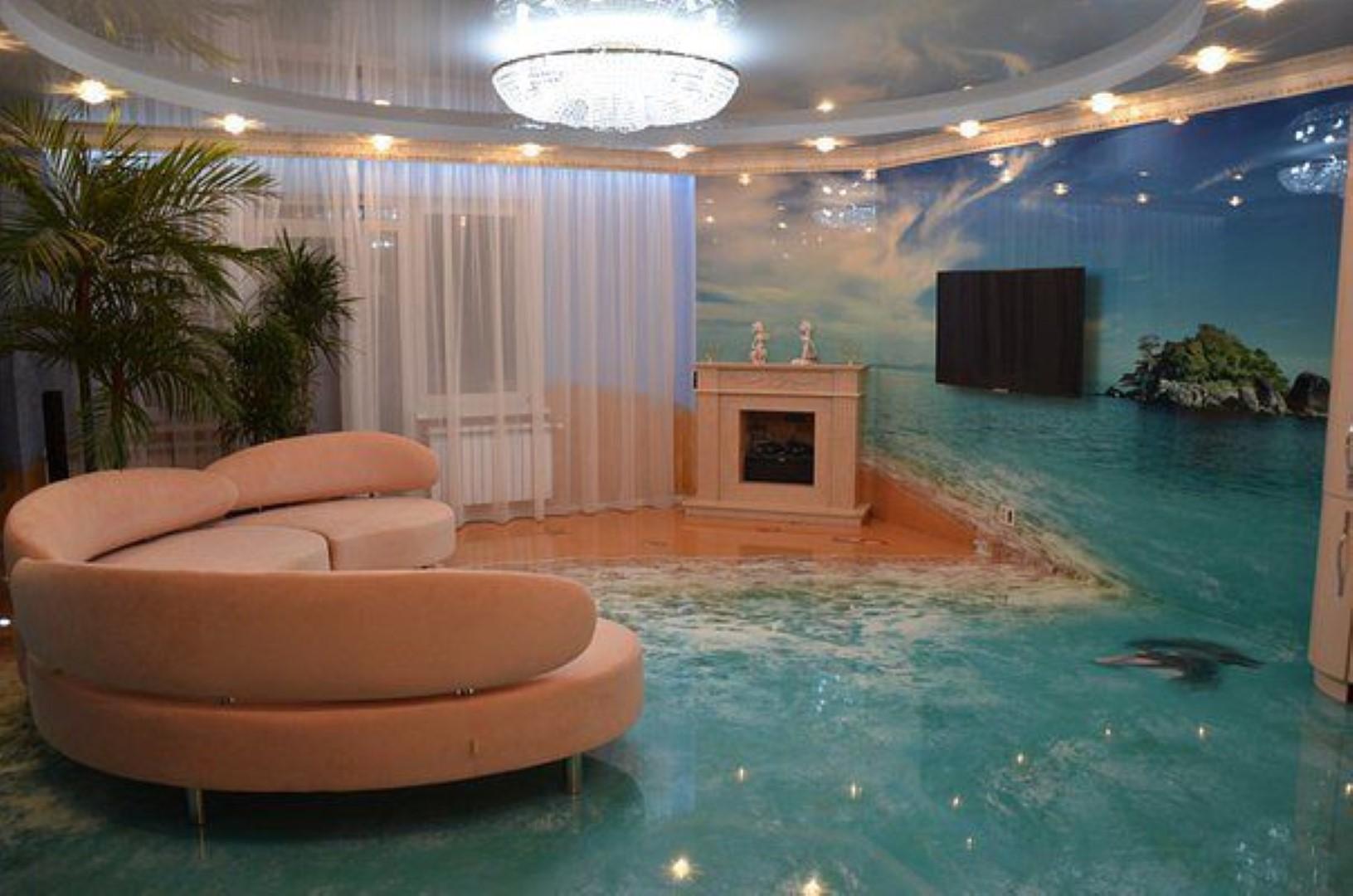 Наливной пол 3d в гостиной