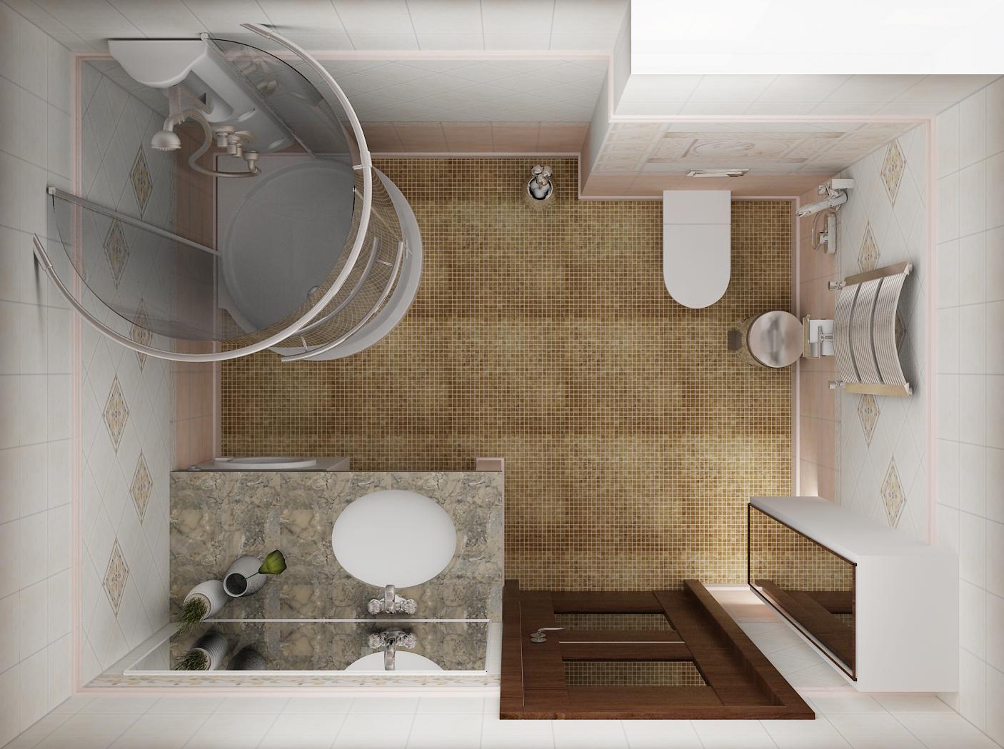 вид ванной комнаты сверху