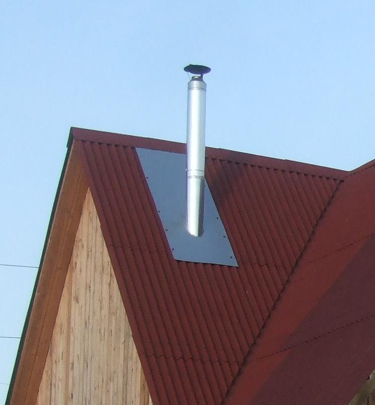 баня, установка трубы на крышу, труба для бани