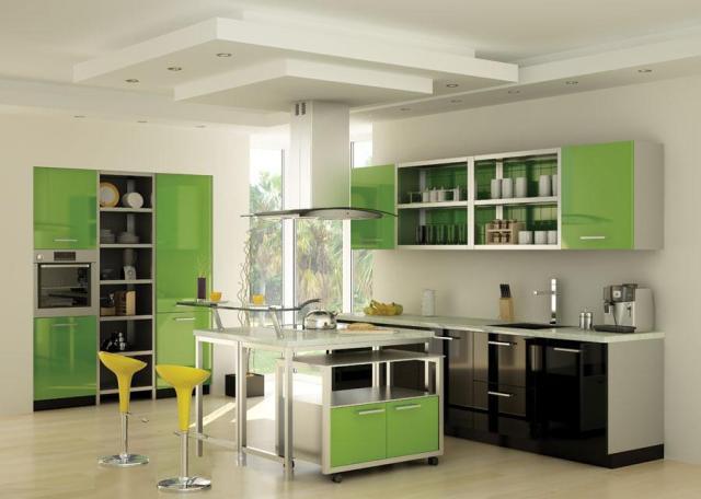 акриловый пластик кухня, пластиковая кухня, яркая стильная кухня, кухня