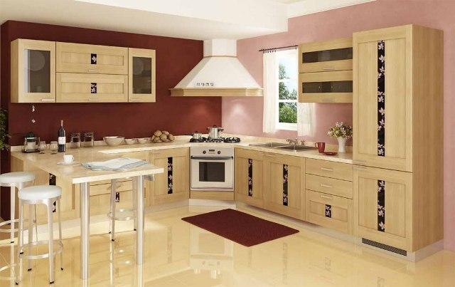 дубовая кухня, светлая деревянная кухня, кухня из дерева, деревянная кухня