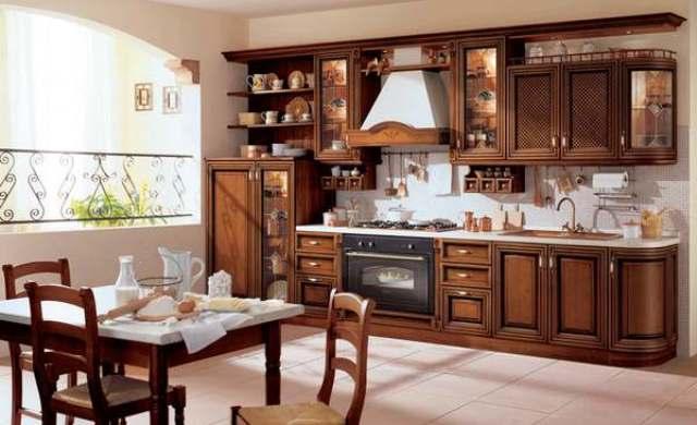 деревянная кухня, кухонная мебель, кухня с деревянным фасадом