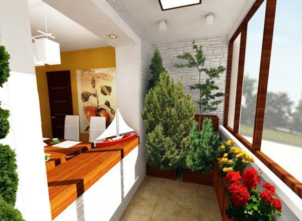 лоджия с белой отделкой, белая отделка под кирпич, с множеством зеленых растений, цветами, соединенная с комнатой открытым пространством в виде окна без стекол