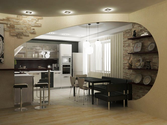 крупная арка, необычная арка, арка на кухню, дизайн кухни с аркой, дизайн интерьера, современный интерьер, кухня, оформление кухни