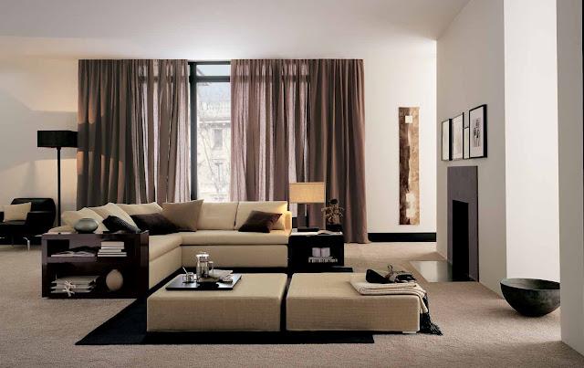 современный интерьер, гостиная комната, интерьер гостиной, угловой диван, камин, светлые стены