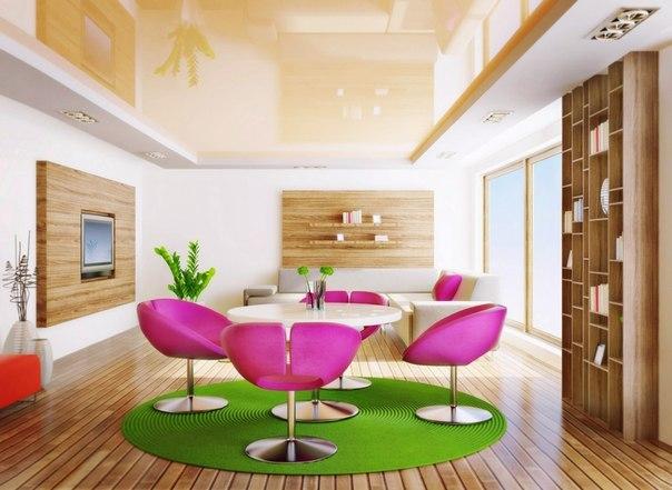 столовая, розовая мебель, дизайн интерьера, интерьер гостиной, интерьер квартиры - студии, деревянная мебель