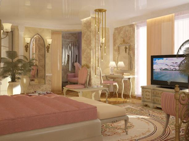 спальня в стиле ампир в бежево - муссовых тонах, с плазменной панелью, пальмой, большим зеркалом