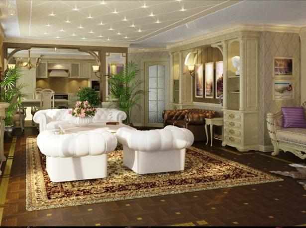 гостиная в стиле ампир с белой мебелью,большим зеркалом, отделенная аркой от кухни