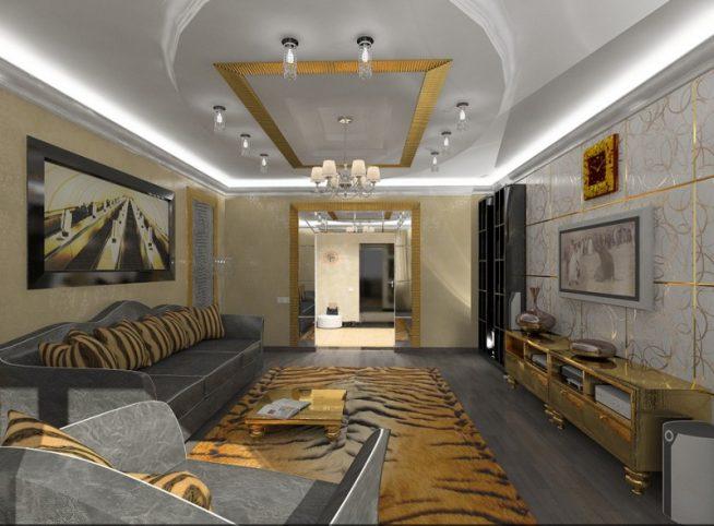 роскошная гостиная в стиле арт деко в серых и золотых тонах с ковром под тигриную шкуру