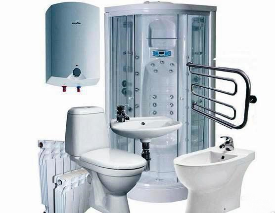 набор сантехники, состоящий из душевой, унитаза, бойлера, радиатора, сушителя для полотенца, раковины