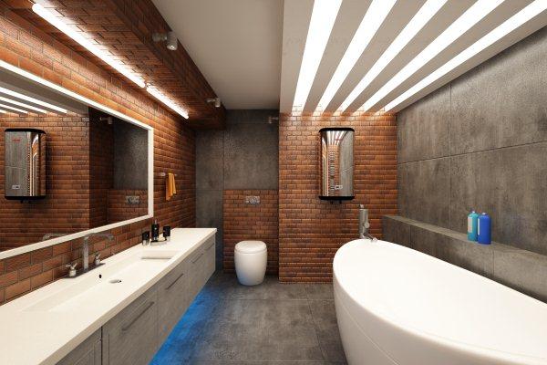 просторная ванная комната в стиле лофт с большой ванной, зеркалом и необычной длинной раковиной