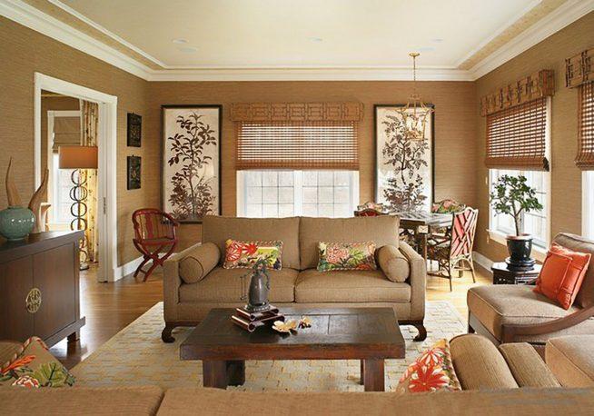 Бамбуковые обои в интерьере гостиной
