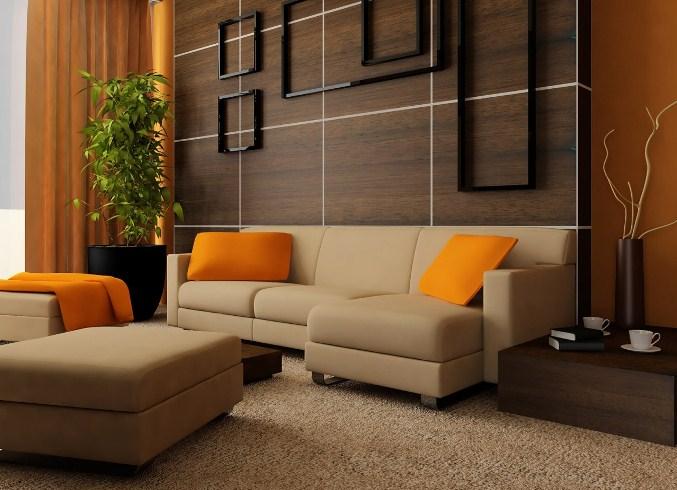 Сочетание оранжевого, кофейного и бежевого цвета в интерьере