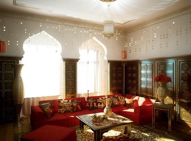 Индийский стиль интерьера с декоративными элементами