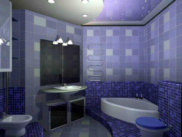 Облицовка стен и потолка ванной фиолетовой плиткой