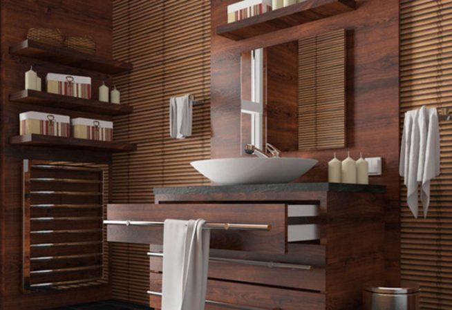 ванная комната отделанная деревом
