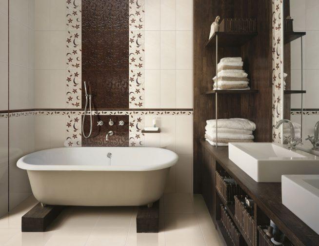 Отделка стен ванной деревянными панелями