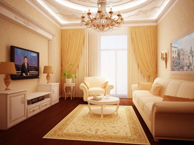 Использование приставного столика в интерьере маленькой гостиной