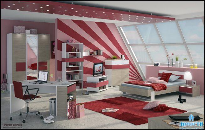 Точечное освещение комнаты для девочки-подростка