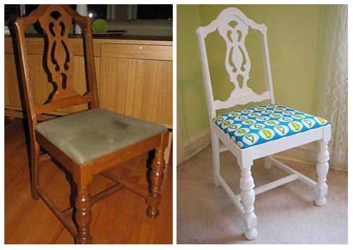 Стул до и после декорирования тканью