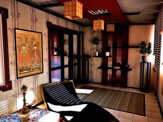 Роспись стен в китайском интерьере