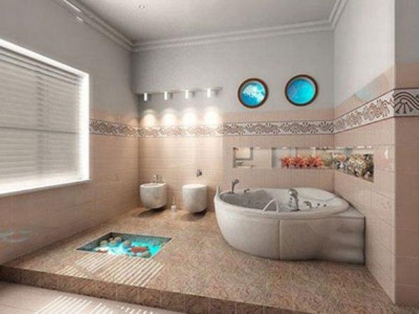 Оформление стен плиткой и декоративными элементами в ванной комнате