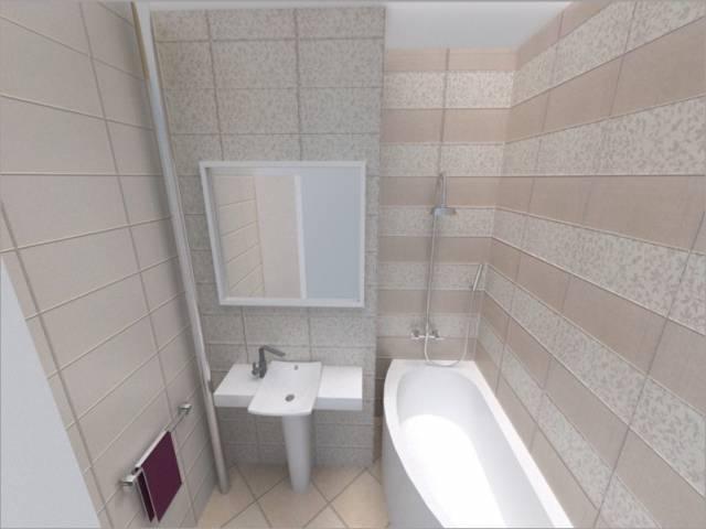 Горизонтальная ориентация отделочной плитки в тесной ванной